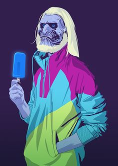 Illustrated Game Of Thrones Stars, White Walker with his Popsicle
