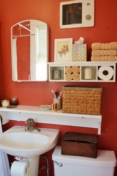 Finding storage in a tiny bathroom...shelf ideas, good use of wall space