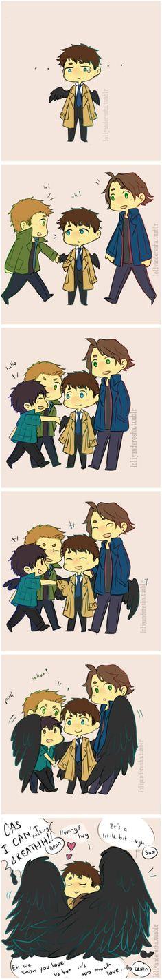 Castiel fanart comic by loliyanderesha (aka shayepurr) - sad Cas with Dean, Sam and Kevin, wing hug results - cuteness