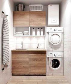 Awesome Small Laundry Room Decor Ideas For Your House 02 Modern Laundry Rooms, Laundry Room Layouts, Laundry Room Cabinets, Farmhouse Laundry Room, Laundry Room Organization, Organization Ideas, Basement Laundry, Farmhouse Style, Laundry Room Small