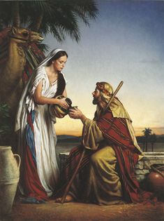 Old Testament. Rebekah gave water to Eliezer, Abraham's steward, commissioned to find a wife for Isaac.