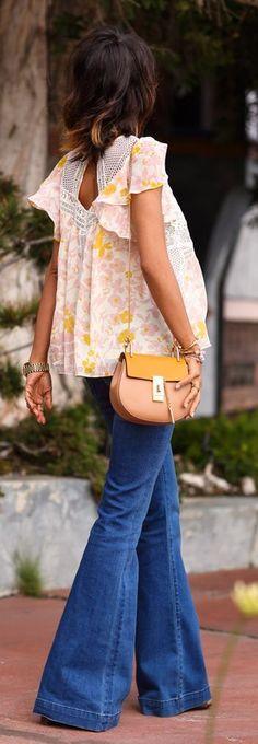 Fluttered Floral Blouse and Flared Jeans - Vivalux...