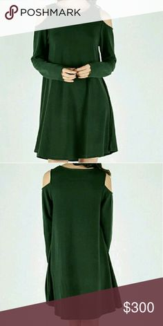 Coming Soon! Beautiful Cold Shoulder Dress! This dress is a beautiful green that's perfect for winter! It's trendy, featuring cut outs at the shoulders.   I will be adding more pictures once these are ready to purchase, like now for a price drop when available!  Materials: 55% Cotton, 35% Polyester, and 10% Cotton Dresses