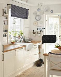 IKEA kitchen: white Swedish farmhouse kitchen - love this cabinet hardware Kitchen Redo, Kitchen Remodel, Kitchen Dining, Kitchen Cabinets, Cottage Kitchens, Home Kitchens, Ikea Kitchens, Ikea Bodbyn Kitchen, Cuisines Design