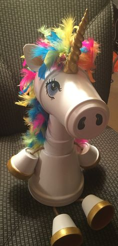 Whimsical clay pot Unicorn made by Sandy Byerly at Family Time Crafts. Please li… - Clay pots Flower Pot Art, Clay Flower Pots, Flower Pot Crafts, Clay Pot Projects, Clay Pot Crafts, Craft Projects, Shell Crafts, Flower Pot People, Clay Pot People