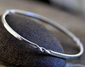 sterling silver bangle bracelet hammered and twisted available in high polish or dark patina