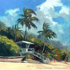 Waimea Lifeguard Tower — Wade Koniakowsky - Vibrant Ocean Art For Your Home or Office Seaside Art, Beach Art, Hawaii Painting, Hawaiian Art, Hawaiian Tropic, Hawaiian Theme, Surf Art, Beach Scenes, Ocean Art