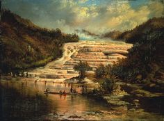 Pink Terraces of Otukapuarangi, 1890, Charles Blomfield.  Charles Blomfield (1848–1926) painted the Pink Terraces four years after they were buried by the eruption of Mt Tarawera. His highly romantic paintings strove for an aesthetic ideal.  1890