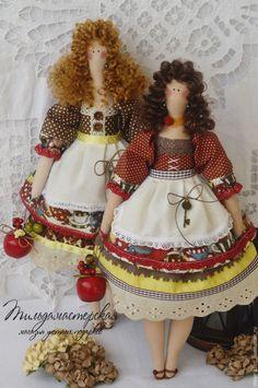 Купить Габриэлла и Марианна , домашние помощницы - кукла Тильда, оливковый, кремовый, розовый, винтажный стиль