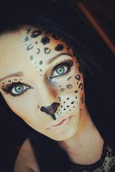 Halloween makeup ; #cheetah #halloween #makeup follow me on Facebook! :) https://m.facebook.com/makeupbybeckymae