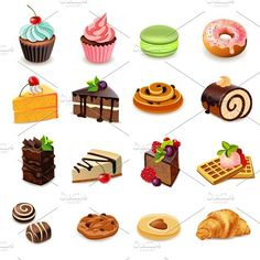 Buy Cakes Icons Set by macrovector on GraphicRiver. Cakes and sweets decorative icons set with donut cookies cupcake isolated vector illustration. Editable EPS and Rende. Cupcake Vector, Cake Illustration, Food Illustrations, Cookies Cupcake, Donut Cakes, Healthy Breakfast Bowl, Breakfast Cake, 15th Birthday Cakes, Cake Icon