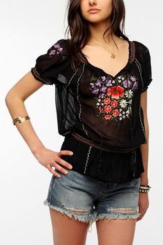 Patrons Of Peace Embroidered Smocked Blouse  Online Only