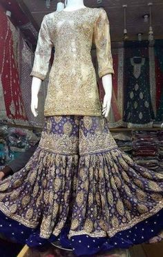 Wedding bridal ghararawith dabka nagh naqshee and zari work Model # B 222 Pakistani Party Wear, Pakistani Wedding Outfits, Bridal Outfits, Pakistani Dresses, Indian Dresses, Indian Outfits, Walima Dress, Shadi Dresses, Desi Wedding Dresses