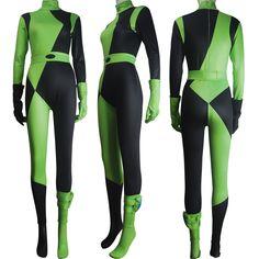 Kim Possible Shego Costume Super Villain Halloween Costume Lycra Spandex Zentai Bodysuit for Women Kids Girls