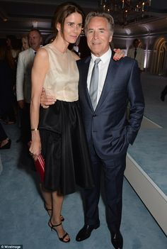 Cannes 2014.   Cosy couple: Miami Vice star Don Johnson posed with his wife, Kelley Phleger