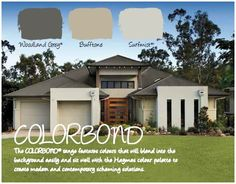 Haymes Paint Exterior Colour Scheme: Colourbond Woodland Grey is the roof, Haymes Bufftone is the darker colour and Colorbond Surfmist the lighter colour used