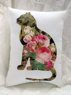 Pink Roses Kitty CAT Pillow Shabby and Chic by ThePeonyShanty