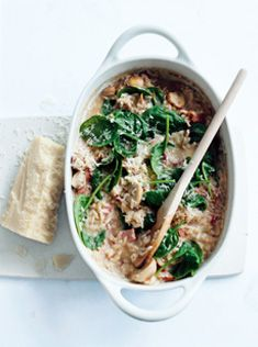 baked mushroom, bacon and spinach risotto.. I tripled this recipe which should feed 6, but it was devoured between only 4 of us! I loved hat you didn't have to stir for an hour... Just pop in in the oven!