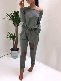 Ripped Skew Neck Tied Waist Casual Jumpsuit