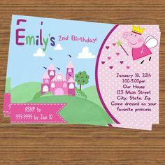 Princess Peppa Pig Party Invitation