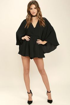 You'll be the definition of grace and poise with every step you take in the Give Me Grace Black Romper! Elegant chiffon falls from a V-neckline into cape sleeves, a billowing bodice, and fluttering shorts. Back keyhole with top button. Hidden back zipper/clasp.