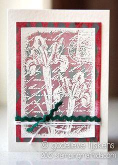 Stamping onto vellum using Darkroom Door Inky Irises Collage Stamp. Card by Godelieve Tijskens.