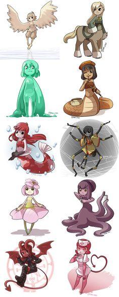 Monster Girls 1-10 by CubeWatermelon on deviantART