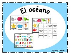 Ocean themed vocabulary cards in SpanishInclueds vocabulary cards for almeja, ballena, tortuga marina, caballito del mar, estrella del mar, pulpo, pez, peces, concha, conchas, cangrejo, calamar, aguamala, langosta, oceano, Tiburon, delfin, and plantas marinas. (Sorry, I haven't figured out how to do accents in the description.)  There are large and small vocabulary cards for a unit on the ocean or sea.