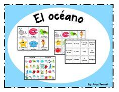 Ocean themed vocabulary cards in SpanishInclueds vocabulary cards for almeja, ballena, tortuga marina, caballito del mar, estrella del mar, pulpo, pez, peces, concha, conchas, cangrejo, calamar, aguamala, langosta, oceano, Tiburon, delfin, and plantas marinas. (Sorry, I haven't figured out how to do accents in the description.)  There are large and small vocabulary cards for a unit on the ocean or sea.