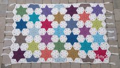 (For more pictures click here ) For this blanket 100x150cm I used 14 colored skeins of StonewashedXL by Scheepjeswol and 15 n...