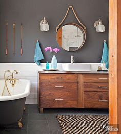 Personalize a bathroom or powder room with these creative ideas for mixing and matching your favorite colors.
