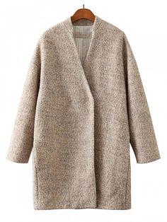 Apricot Long Sleeve Woolen Coat