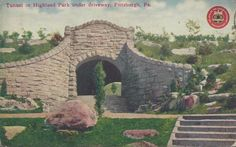 1910 Postcard of Highland Park Tunnel in Highland Park in Pittsburgh PA