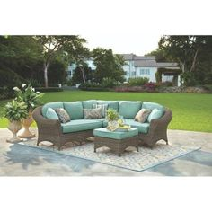 Home Decorators Collection Lake Adela 4-Piece Weathered Gray All-Weather Wicker Patio Sectional Set with Surf Cushions-9440600390 - The Home Depot