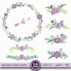 "Wedding Clipart ""WEDDING FLORAL"" clip art pack Vintage Flowers,Floral Frames,Wreath,Wedding Floral,Wedding invitation Instant Download Wf009"