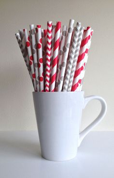 Paper Straws - 25 Red and Light Gray / Grey Striped, Chevron, Polka Dot Party Straws Birthday Wedding Baby Shower Bridal Ohio State OSU Mix by PuppyCatCrafts (Baby Shower Party Mix) Baby Shower Deco, Baby Shower Parties, Baby Boy Shower, Bridal Shower, Shower Party, Polka Dot Theme, Polka Dot Party, Twin First Birthday, Dad Birthday