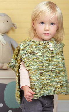 Ravelry: Poncho Pal pattern by Vickie Howell Girls Poncho, Baby Poncho, Knitting Patterns, Crochet Patterns, Spring Books, Baby Coat, Body Warmer, Warm Outfits, Garter Stitch