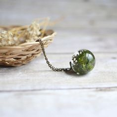 moss necklace resin jewelry nature inspired lichen by EightAcorns
