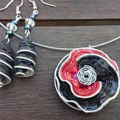 Bijoux parure collier boucles d'oreilles capsule café nespresso recyclé rouge