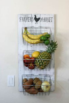 Idea for produce storage on the side of the fridge. DIY Farmer's Market Produce Rack for a fun way to store kitchen fruits and veggies!