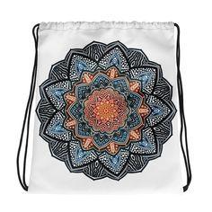 Mandala Unique Drawstring Backpack Bag Print Colours Gift Positive Energy Vibes Yoga Meditation