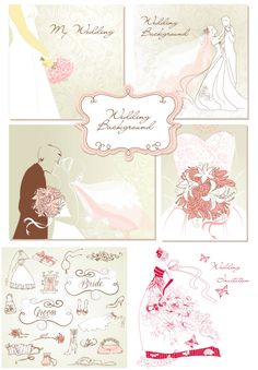 Wedding backgrounds and elements design vector