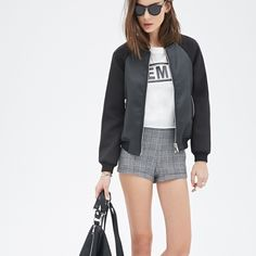 Scuba + Leather Bomber Jacket GORGEOUS Scuba material bomber. Never worn. Perfect condition. Scuba & Vegan cracked leather. Silver hardware and zippers. 2 zip pockets. Brand: unbranded Color: BLACK. Size: Small Nasty Gal Jackets & Coats Utility Jackets