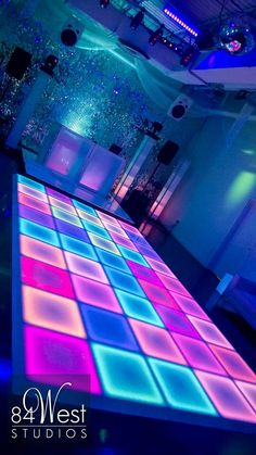 Latest Photographs LED Dance Floor @ 84 WEST STUDIOS South Florida Events Concepts In the many years, we have allocated to the dance surfaces of this earth, we have experienced some Disco Theme Parties, Disco Party Decorations, Neon Party Themes, Bat Mitzvah Decorations, Neon Party Outfits, Birthday Decorations, South Florida Events, Neon Birthday, Glow Party