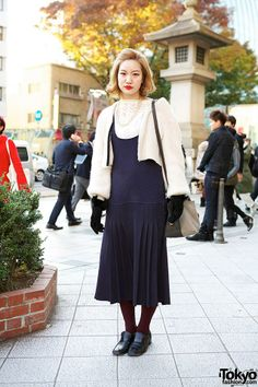 6014ad5c Yukina in a amazing vintage style drop waist dress, cardigan, bucket bag &  loafers.