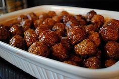 Grape Jelly + BBQ Sauce Meatballs in your crockpot. My sister and mom have been making these for years...always a party pleaser