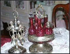 Victorian Silver Spoon Holder and Cranberry Glass Cruet Set