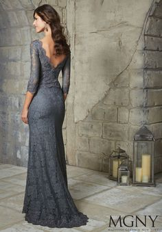 Beaded Appliques on Allover Lace Evening Gown/Mother of the Bride Dress by Madeline Gardner. Colors available: Charcoal and Navy.