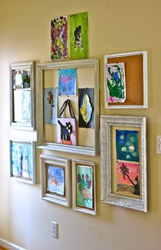 a la mode: Artful Gallery Wall Using Your Kids' Creations...cork framed, nice way to display kids' art