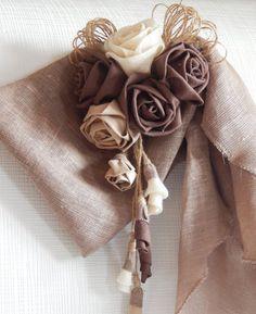 Rustic Curtain Tie Back Organic Linen Flower Curtain Tie Teal Curtains, Burlap Curtains, Floral Curtains, Drapery Tie Backs, Curtain Tie Backs, Fabric Flower Brooch, Fabric Flower Tutorial, Burlap Flowers, Fabric Flowers